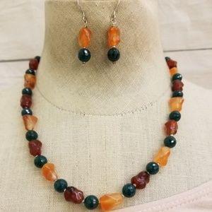 Faceted Green Onyx & Carnelian Jewelry Set